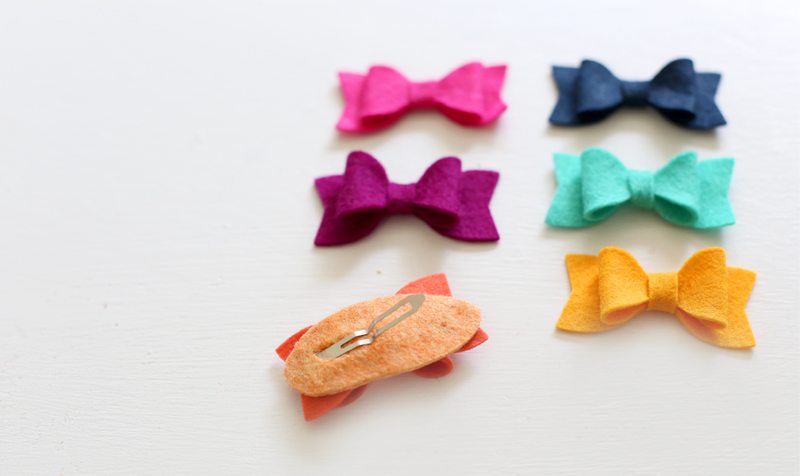 Diy pretty fancy felt bow clips maggie holmes photography and step 3 lastly hot glue your bow to the top of your covered clip pronofoot35fo Image collections